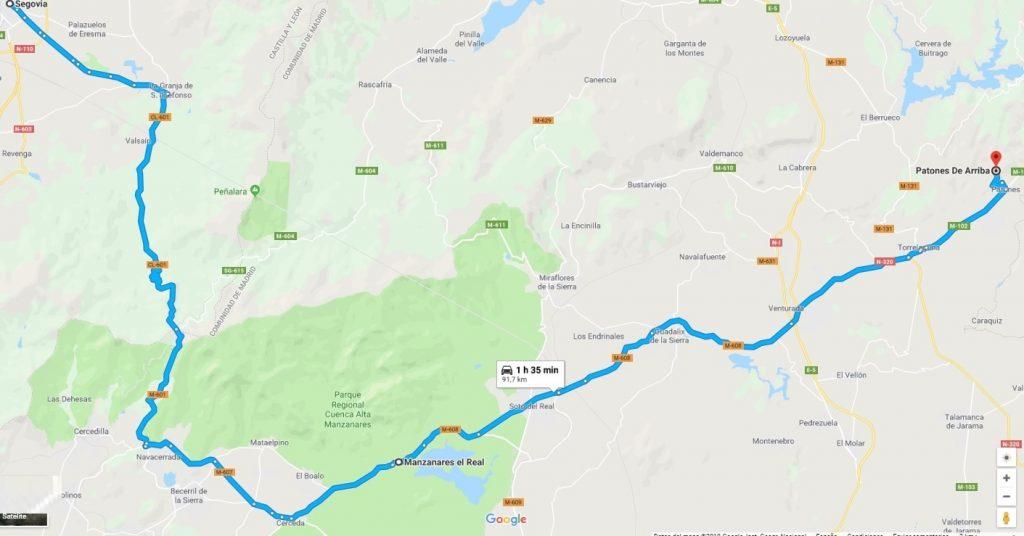 Ruta de Segovia a Patones pasando por Manzanares el Real