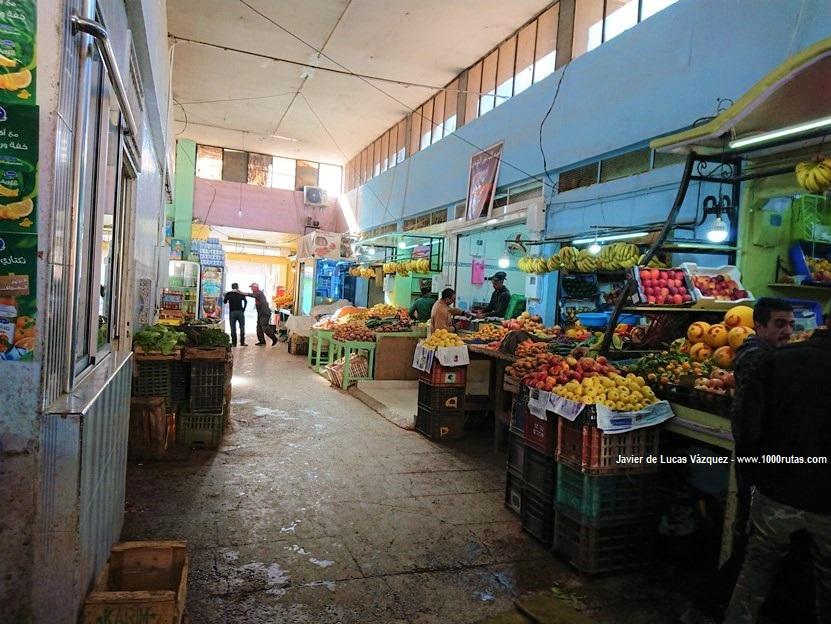 Rachidia, Mercado de Alimentos. Pan, frutas, olivas, verduras y carnes.