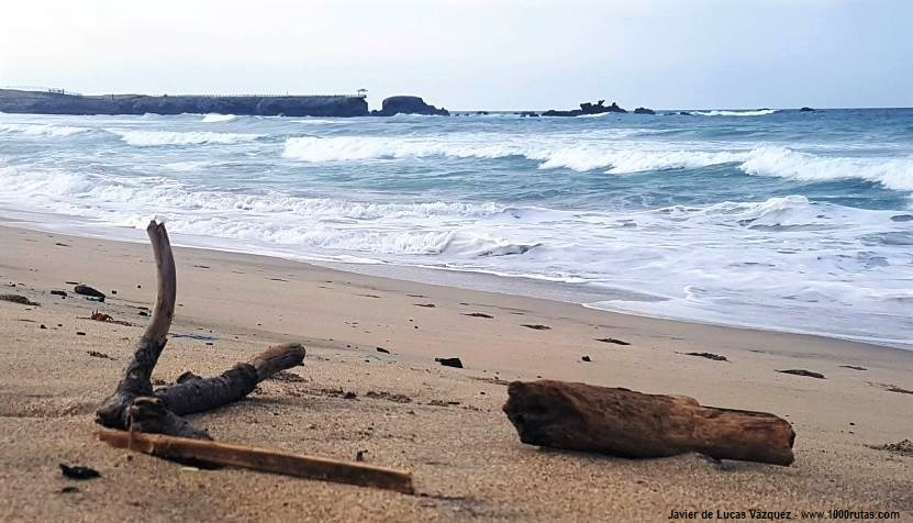 Playa oceánica de Salinas. Playa de Tres Cruces, de caminoa a La Lobería.